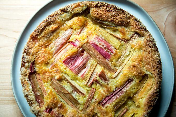 Rhubarb custard cake, cooled.