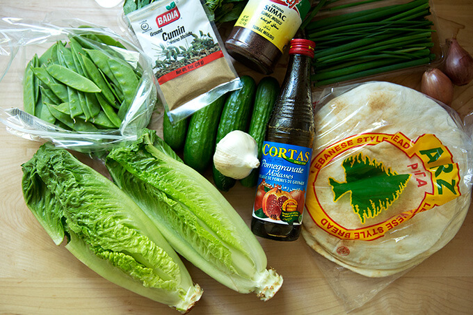 All of the ingredients for the spring salad with crispy pita and fattoush dressing