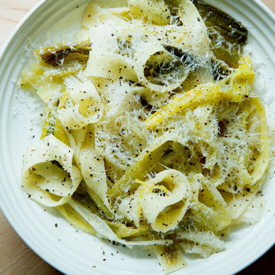 Braised Leeks with Pappardelle & Parmesan
