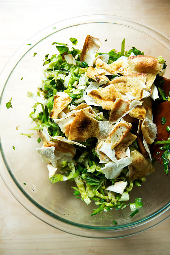 Spring fattoush salad with the pita added.