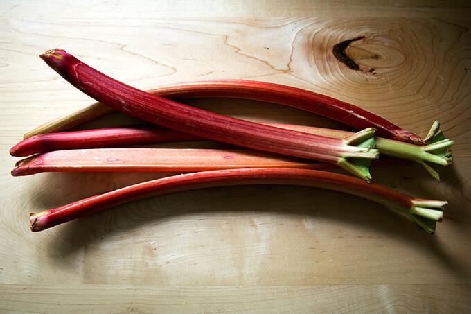 Five whole stalks of rhubarb.