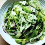 A bowl of shaved fennel salad.