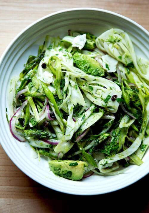 A bowl of shaved fennel salad.