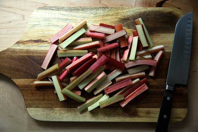 Rhubarb, sliced into 2-inch lengths.