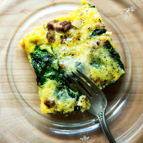 Sausage, Egg, and Cheese Casserole with Spinach