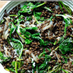 black lentils with spinach and labneh