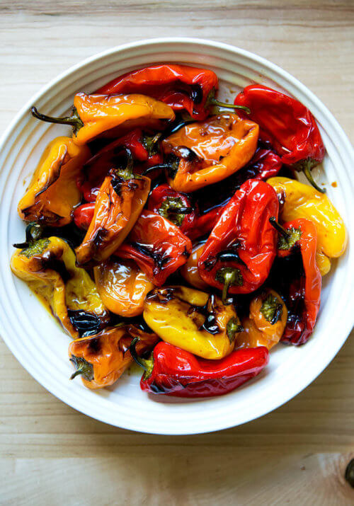 Bowl of just-roasted balsamic mini peppers.