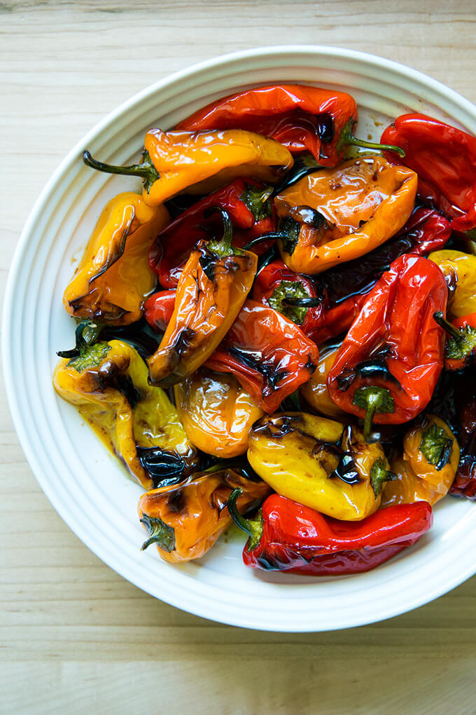 A bowl of just-roasted peppers.
