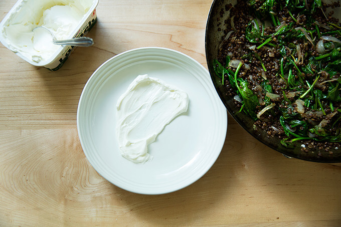 A plate smeared with labneh.
