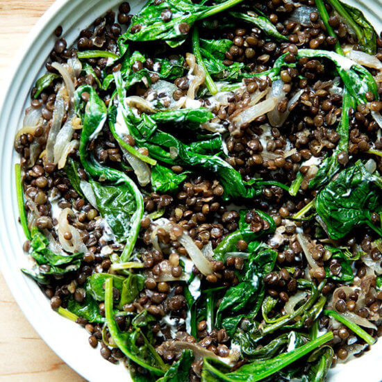Black Lentils with Spinach & Labneh