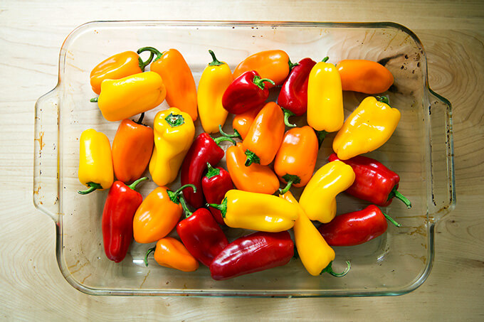 uncooked peppers in 9x13-inch pan
