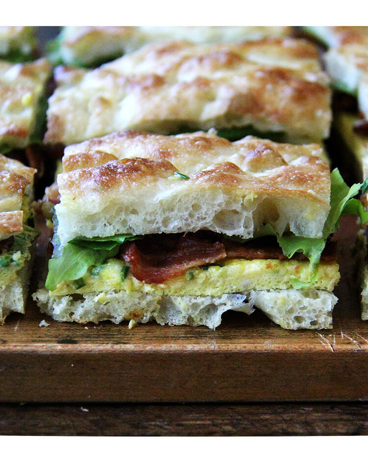 Sideview of Ultimate Sheet Pan Breakfast Slab Sandwich