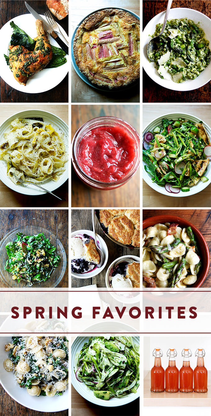 A montage of photos, each depicting a favorite spring recipe.