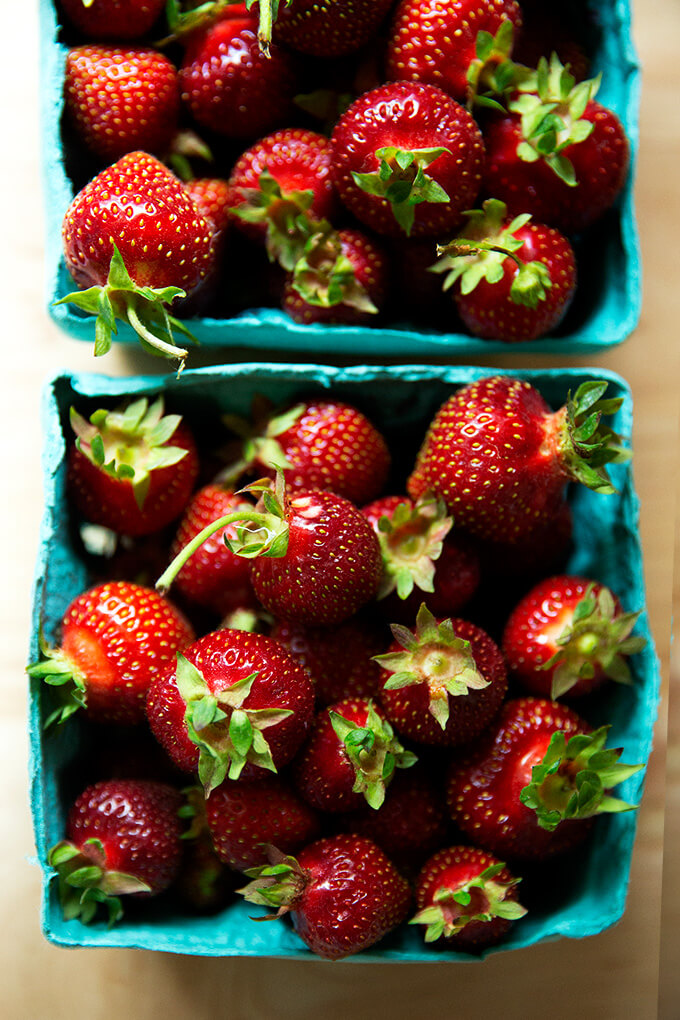 local strawberries in cartons