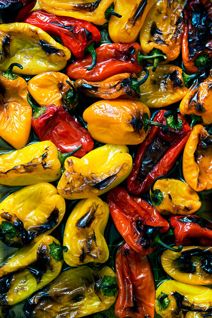 A pan of just-roasted balsamic peppers.