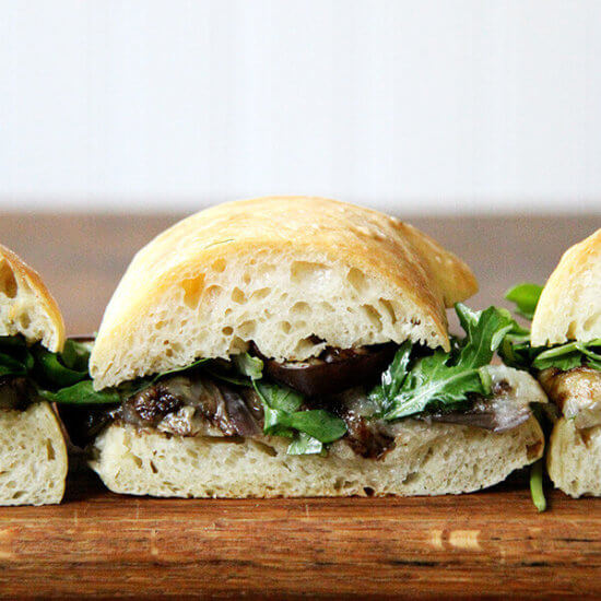 Balsamic-Roasted Eggplant & Arugula Sandwiches