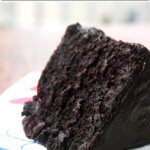 A slice of the very best double chocolate cake.