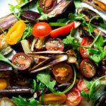 A platter of roasted eggplant salad.