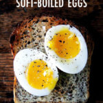 A piece of toast topped with instant pot soft-boiled eggs.
