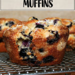 Lemon-blueberry muffins on a rack.