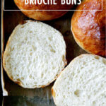 A halved brioche bun.