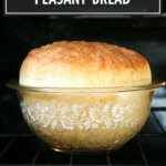 Peasant bread in the oven.