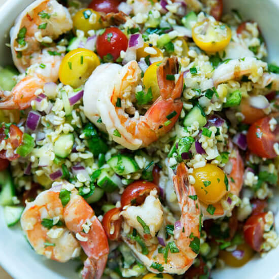 Tabbouleh with Cilantro, Lime & Grilled Shrimp