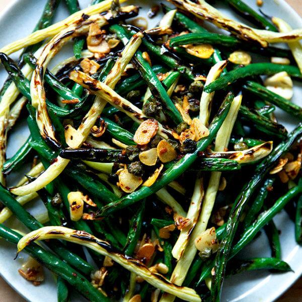 Blistered green beans.