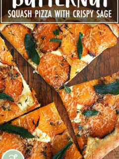 A butternut squash and crispy sage pizza cut into quarters.