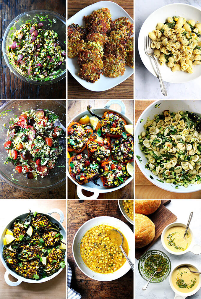 A montage of corn recipes.