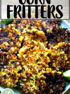 A plate of freshly fried corn fritters.