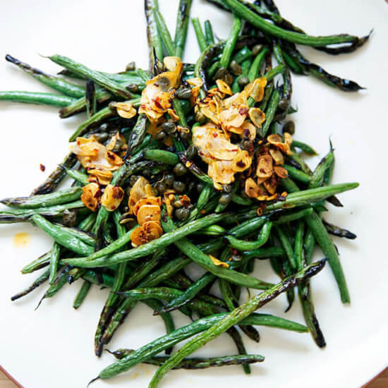 Spicy, Blistered Green Beans with Sizzling Garlic and Capers