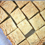 Rosemary shortbread cut into squares.