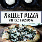 Skillet pizza with kale and mushroom.