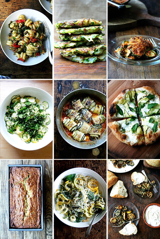 A montage of zucchini images.