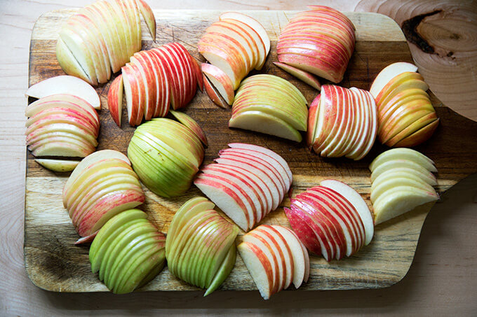 Apples sliced for French apple tart