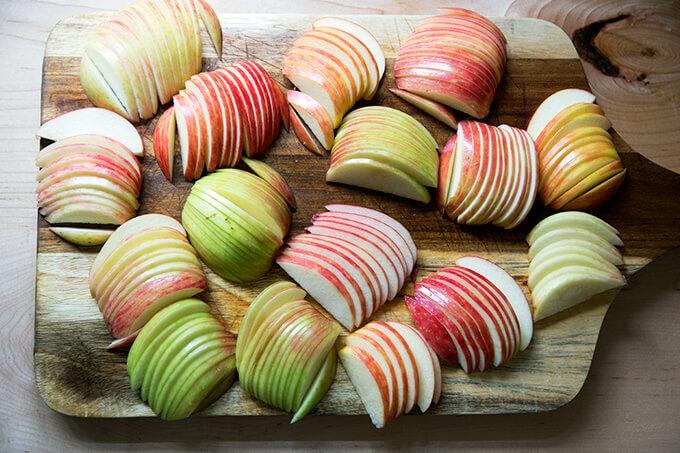 Apples sliced for French apple tart