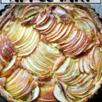 An overhead shot of a French apple tart.