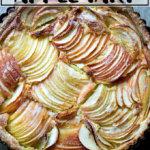An overhead shot of a French apple tart.