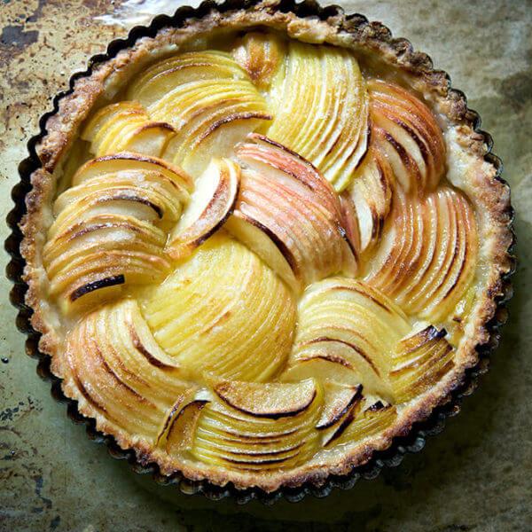 Just baked French apple tart on sheet pan.