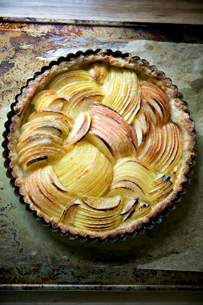 Just baked French apple tart on sheet pan.