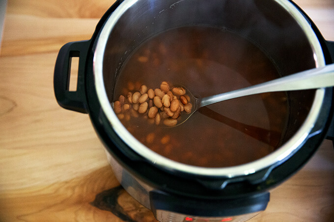 Cooked pinto beans in the Instant Pot.