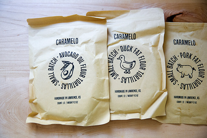 Three bags of Caramelo tortillas.