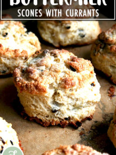 Freshly baked currant scones.