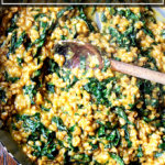 Farro risotto with butternut squash and kale.