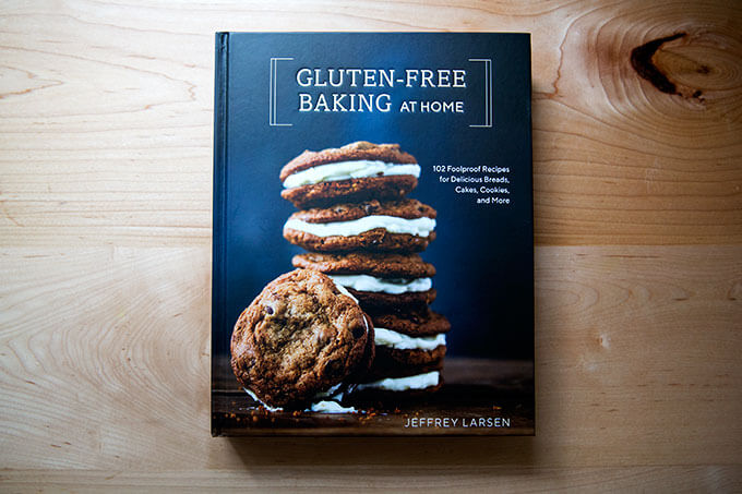 Gluten-Free Baking at Home cookbook on a countertop.