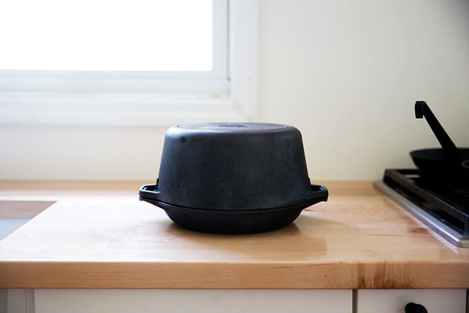 A Lodge brand Double dutch oven.