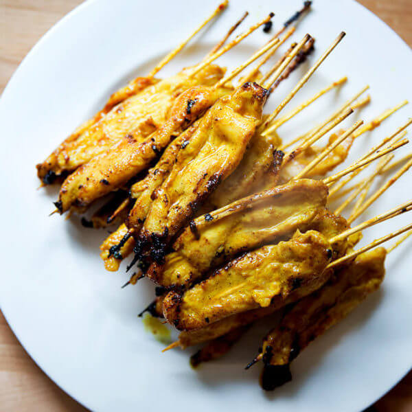 A plate of easy Thai chicken satay.