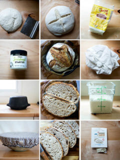 A montage of images that together amount to essential tools for sourdough bread baking.