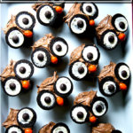An overhead shot of a tray of owl cupcakes.